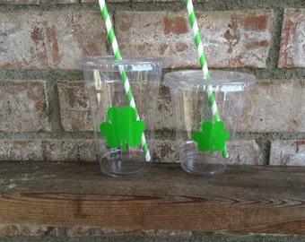 St Patrick's Day Party Cups with lids and straws -  16oz and 12oz disposable cups
