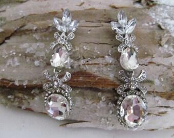 CZ earrings, cz  marquise  earrings, rhinestone earrings, cz dangle earrings, wedding earrings, pageant earrings, bridal earrings