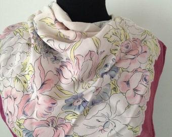 Pastel flowers, Vintage silk scarf