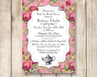 High Tea Bridal Shower Invitation, Tea Bridal Shower, Bridal Tea Party Invitation, Kitchen Tea Invitation, Tea Bridal Shower Invite