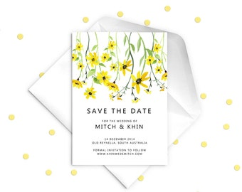 Yellow Wedding Invitation Save the Date Card. Yellow Flowers.