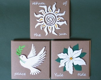 Winter Solstice, Card, Greeting Cards, Pagan, Recycled Paper, Eco Friendly, Winter Solstice Card, Yule Cards, Peace, Peace Dove, Poinsettia