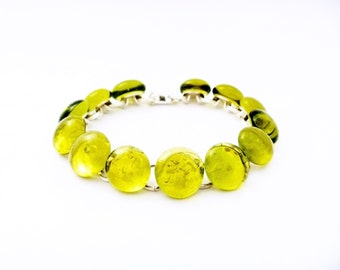 Recycled wine bottle yellow link bracelet/Eco-friendly upcycled wine bottle bracelet on silver/Handmade jewelry