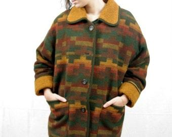 Vintage 70/80s Georgous winter ikat brown orange coat jacket