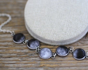 Moon Phases Necklace, Moon Phases, Phases of the Moon, Moon Cycle, Solar System Necklace, Moon Necklace, Full Moon, Planets, Galaxy, Space