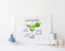 Margarita Print » 4x6 5x7 8x10 11x14 » Cocktail Art » Margarita Recipe Print » Bar Decor » Bar Wall Art » Kitchen Wall Decor » Digital Print