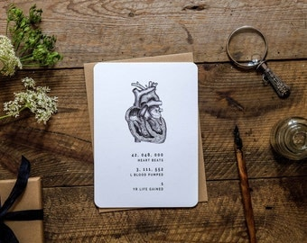 Birthday card with anatomical heart * anatomy * heartbeats * medicine * health * science * etching illustration *