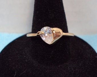 Gold Plated CZ Heart Ring (Size 7.5)