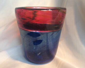 """Hand Blown Glass Incalmo Vase.  """"Sunset on a Night Sky"""" Glass Art Vase.  Blue and Red Glass Vase."""