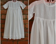 Vintage Christening gown, Heirloom Baptism dress, Long white, fine cotton dress with decorative floral detail, Babies Christening robe