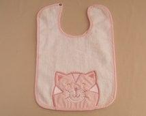 Pink Kitty Cat Large Bib, Infant Baby Bib, Vintage Alexis Terry Bib, 100% Cotton Bib, Large Size Bibs, Unisex, Happy Kitten, Pink Gingham
