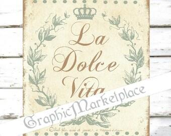 La Dolce Vita Words Sentiments Sweet Life Download Transfer Burlap digital collage sheet graphic printable No. 158