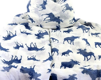 Moose Scarf , Ivory Scarf with a Navy Blue Moose Print, Ladies Wrap shawl