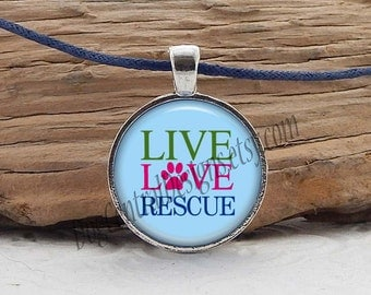 Rescue Necklace Live Love Rescue Adjustable Blue Cord Glass Picture Pendant Necklace Blue Pink Green Rescue Jewelry Dog Cat Necklace