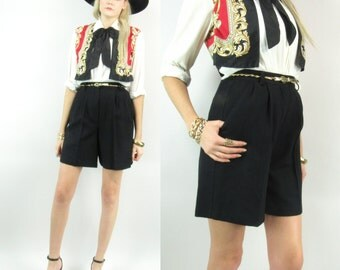 80s Wool High Waisted Pleated Shorts