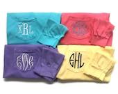 Monogram Shirt Long Sleeve- Monogrammed T Shirt - Comfort Colors Pocket Tee - Monogram Gift - Gifts For Her -Preppy T Shirt