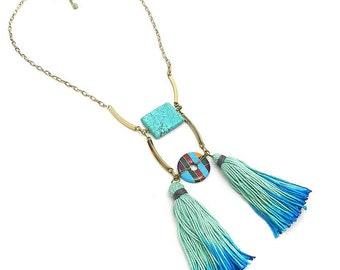 Ethnic Tribal Tassel Necklace/ Aqua Blue / Boho chic Tassel Jewelry / Turquoise Statement Necklace/ Fringe Necklace