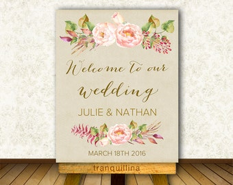 Welcome Sign Printable, Custom Wedding Sign, Wedding Welcome Sign, Floral Bridal Shower Welcome Sign, Welcome Sign Wedding, Welcome Wedding