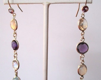 Pair of 2 3/4-Inch  Vintage Amethyst, Moonstone & Opal Earrings