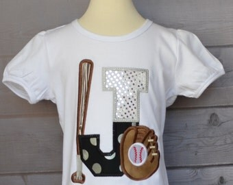 Personalized Initial Baseball Softball with Bat & Glove Applique Shirt or Onesie Girl or Boy