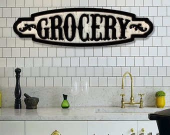 Large Grocery Sign Grocery Wall Decor Vintage Grocery Sign Grocery Farmhouse Sign Grocery Wood Sign Kitchen Pantry Sign Rustic Grocery Sign