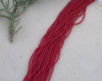 Transparent Ruby Matte 11/0 , seed bead , hank of beads , ruby red beads , Matte beads , glass seed beads