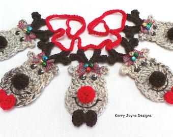FESTIVE CROCHET PATTERN, Reindeer bunting pattern, Christmas crochet pattern Crochet reindeer Pattern Crochet Garland pattern By Kerry Jayne