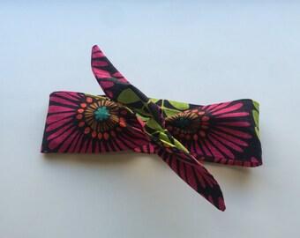 Retro Style Wire Headband - Magenta Floral Headband - Rockabilly