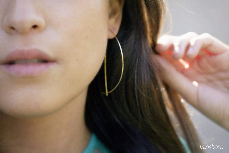 Gold Arc Hoop, Half Hoop Earrings, Large Hoop Earrings, Threader Earrings, Minimalist, Modernist, Simple