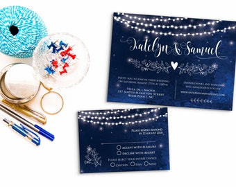 Printed Card - Digital Printable Files - Blue Navy Lights Watercolor Rustic Romantic Wedding Invitation RSVP Thank You Invitation Set ID678
