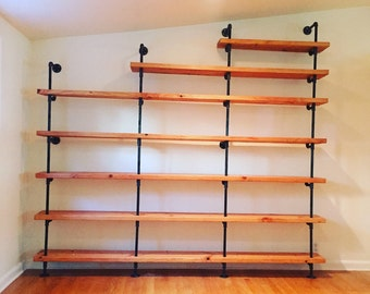 Black steel pipe shelves