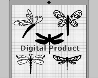Dragonfly Collection SVG, (dxf, eps, pdf, png, svg, studio3 file types), Die Cut Files, Silhouette Cameo, Cricut, Instant Download