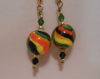Colorful Striped Ball Earrings Item No. 157