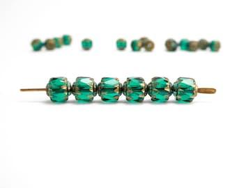 Green Catherdral Czech Glass Beads, (30 pcs) 6mm Green Cathedral Beads, Green Glass Beads, Green Bols Beads CAT0012
