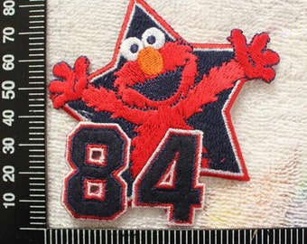 Sesame Street Applique Nnumber 84 Star and Elmo Iron on Patch CD166