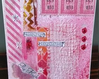 Original Mixed Media Inspirational Greeting Card; Paper Collage Art