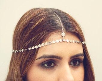 THE MOKSHA - Silver Small Coins Hair Chain Crystal Diamond Hair Jewelry Boho Festival Prom Wedding Headpiece head chain  Festival Christmas