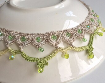 Light green beaded collar crochet necklace