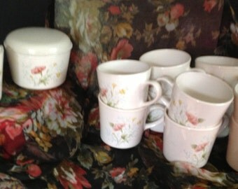 set of 12 ceramic Corning Ware mugs with sugar and creamer floral pattern