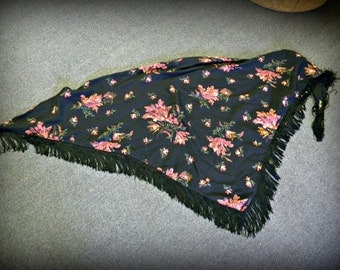 Vintage Fringed Shawl Can be Gypsy, Shabby Chic or Festival