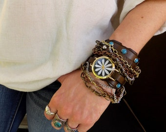 Brown leather watch with turquoise stones and chains, Hippie bracelet watch, Bohemian jewelry, wrist watch, Flower watch, Leather watch cuff