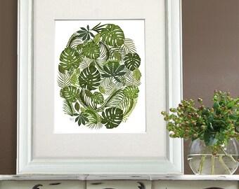 Green Artwork - Tropical Oval in Green - botanical print botanical wall art Green room decor green wall art tropical wall art tropical theme