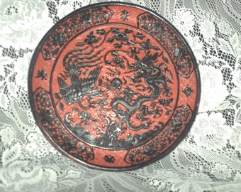 Carved Cinnabar and Black Plate