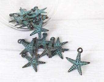 2 pcs Starfish Pendant, Verdigris Green Patina Pendant, Double Sided Pendant, Charm for Necklaces, Jewelry Making, 23x26 mm Pendant