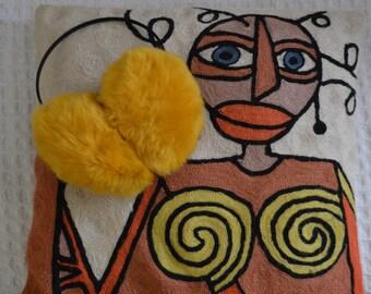 1970's Furry sunshine earmuff's / Super cute headwear / winter warmer ear muff / Fluffy oversized fun & cute