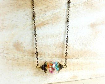 Multicolor terrarium necklace , Botanical orb jewelry gift , Handmade Real flower necklace