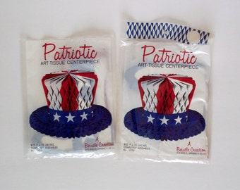 2 Beistle Patriotic Art Tissue Centerpiece honeycomb hat table decoration red white blue
