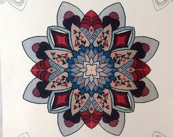 Blue Dahlia By Sue Lentz Needlework Vintage Cross Stitch Pattern Packet 1990