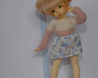BJD YoSD Skirt (White with Flower and Bow Pattern)