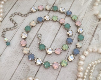 New: SEAGLASS. 8mm Mixed Opal Designer inspired Choker Necklace. Soft pink, Baby Blue, Lt Green and Crystal.
